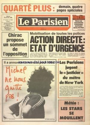 Le Justicier Du Metro - PARISIEN LIBERE [No 12557] du 29/01/1985 -