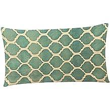 beiguoxia rectangular geométrico funda de almohada sofá cintura Throw Cojín Decoración del hogar, Lino, # H, talla única