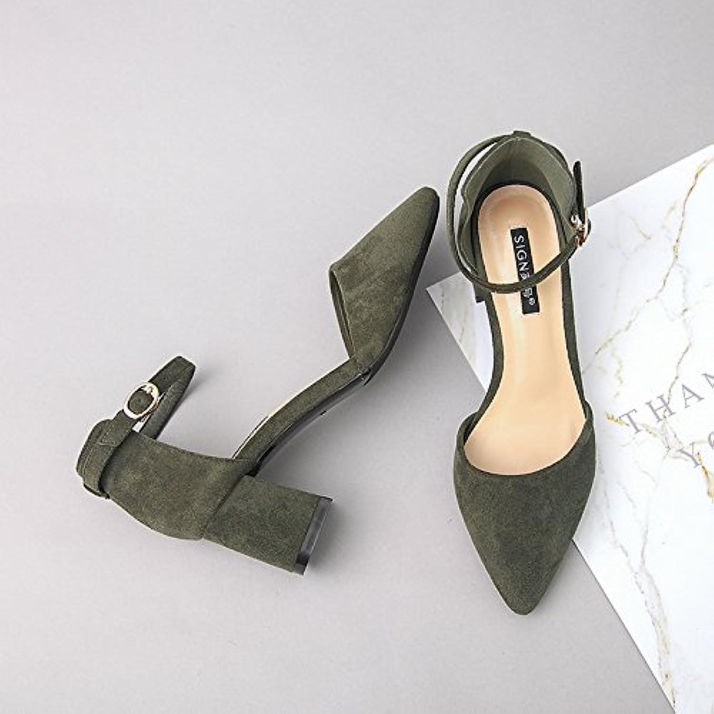 e5a874d6394806 au printemps Chaussure shaoge un mot mot mot boucle étudiants hollow talons  sandales petites verges chaussures pointues femelle...b0753m39td parent |  Larges ...