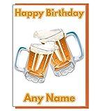 Bier Krüge Personalisierte Geburtstagskarte–Jeder Name und Alter Druck auf der Vorderseite