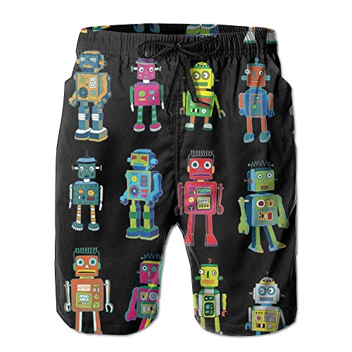 magic ship Robot Line-up Men's Beach Shorts with Pockets Quick Dry Summer Shorts Swim Trunks S -