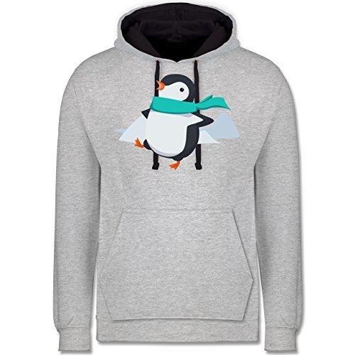 Wildnis - Happy Pinguin - Kontrast Hoodie Grau meliert/Dunkelblau