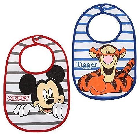 Lot de 2 bavoirs bébé garçon Mickey et Tigrou rouge