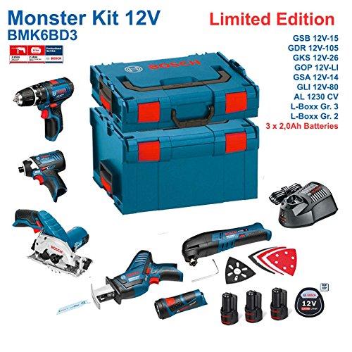 Preisvergleich Produktbild BOSCH Kit 12V BMK6BD3 (GSB 12V-15 + GDR 12V-105 + GKS 12V-26 + GOP 12V-LI + GSA 12V-14 + GLI 12V-80 + 3 x 2,0Ah + AL1230CV + L-Boxx 238 + L-Boxx 136)