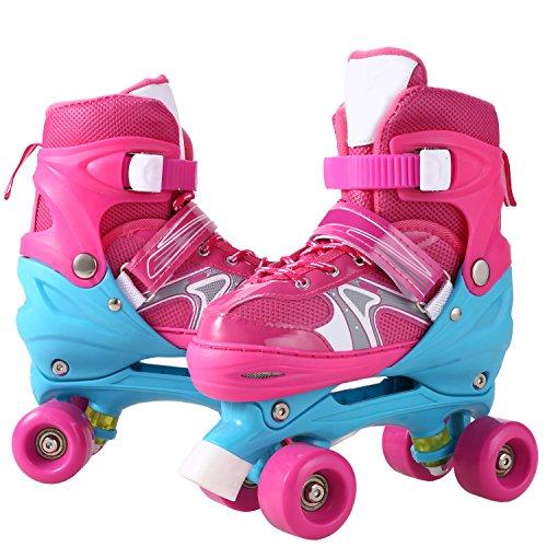 WeSkate Kid Fashion Quad Skates Einstellbare Größen Rollschuhe PVC Rad Triple Lock Mesh Breathable Rollerblades Für Anfänger / Kleinkinder / Kinder / Jungen / Mädchen (Rosa, 31-34)