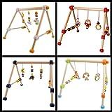 Baby HOLZ GYM / Spieltrapez (Mit vielen bunten Figuren) Aus ausgewählten Hölzern gefertigt (SCHÄFCHEN)
