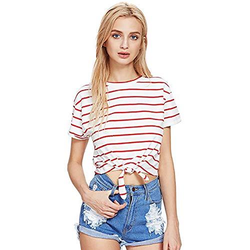 Frühling und Sommer Explosion Modelle kurzen Absatz Baumwolle gestreifte Spitze Kurzarm-Shirt T-Shirt weiblich Foto Farbe M (Superhelden Fotos Weibliche)