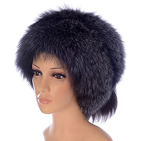 Ysting Frauen-mongolische echter Fox-Pelz-Hut mit Schwanz Russian Style Hüte Winter (Silver Fox Natural (Wollfilz Thema)