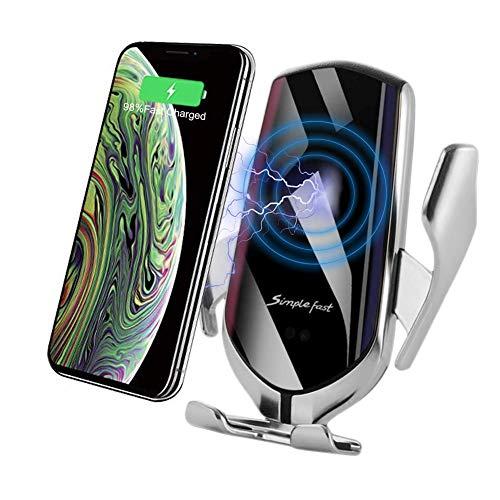 Myrado Caricabatteria per Auto Wireless Qi - Supporto da Auto per Ricarica Wireless, Superficie in Vetro a Specchio, Rotazione a 360 °, compatibilità Universale, Due opzioni di Montaggio (Argento)