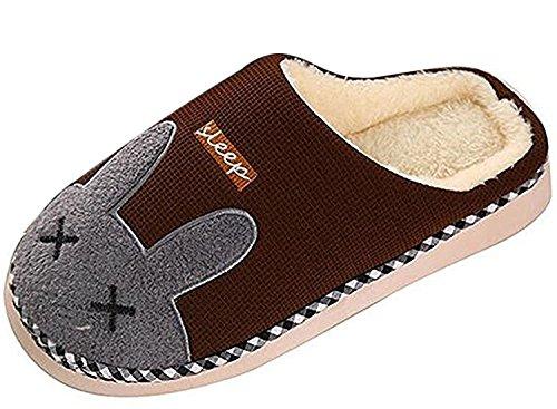 Minetom Coppia Pantofole Inverno Autunno Morbido Pantofole Coniglio Cartoon Scarpe Slippers per Donne Uomini Caffè (Letto Viso)
