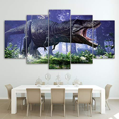 ZKYB Modulare HD Leinwand Gedruckt Wand Wohnzimmer Malerei 5 Panel Jurassic Park Dinosaurier Rahmen Dekoration Poster Bilder