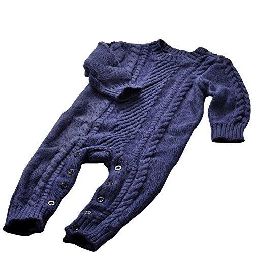 Unisex Baby Strick Strampler Lange Ärmel Einfarbig Pullover Mantel Dunkel Blau Höhe 82CM