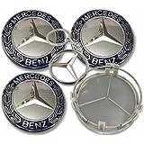 4X Tapacubos Mercedes 75mm Tapas Centrales Rueda,1 Llavero de Regalo Incluido,para Llantas