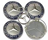 Nabenkappe Für Mercedes-Benz 75mm EIN Kostenloser Schlüsselbund enthalten,weiß/blau, für Radzylinder, Nabenabdeckung Felgen-Emblem, Nabenkappen,4 Stück Logo E C CLS SLK ML GLK A-B