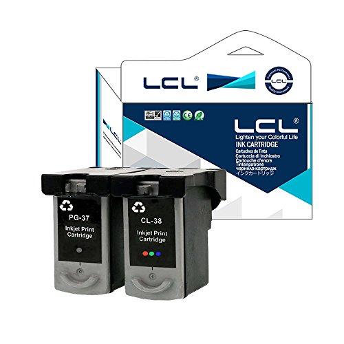 LCL(TM) PG37 PG-37 CL38 CL-38 (2-Pack Negro Tricolor) Cartuchos de Tinta Remanufacturado para Canon PIXMA iP1800 iP1900 iP2500 iP2600 MP140 MP190