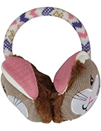 Aroma Home Click & Heat Earmuffs Girls/Womens Fluffy Bunny Rabbit Knitted Cute Animal Warm Faux Fur Heated Winter Ear Warmers with Adjustable Headband for Kids/Adults & 2 x Gel Heat Packs Pink/Lilac