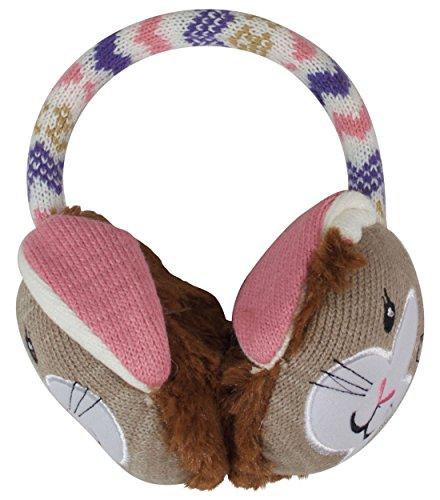 Ohrenschützer von Aroma Home, Click and Heat, flauschig, mit Kaninchen-Motiv, niedliches Tier, warm, aus Kunstpelz, für den Winter, beheizt, mit anpassbarem Kopfband, für Kinder und Erwachsene, mit 2 x Gel-Wärmekissen, rosa/lila (Ohrenschützer Position)