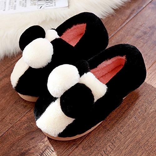 DogHaccd pantofole,La sig.ra cotone pantofole pacchetto con spessi e graziosa anti-slittamento coppie soggiorno caldo scarpe invernali in autunno e inverno Nero1