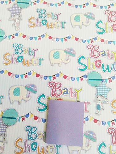 Unisex Junge/Mädchen Baby Dusche Geschenkpapier + Geschenkanhänger 2Bögen Geschenkpapier + 1Geschenkanhänger (AWU)