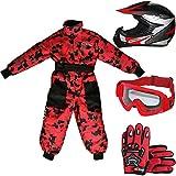 Leopard LEO-X19 Kinder Motocrosshelme Motorradhelm + Handschuhe + Brille + Kinder Motocross Anzug | Passen XS (3-4 Jahre alt) + Helm&Handschuhe S - Rot