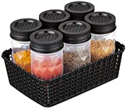Amazon Brand - Solimo Twister Airtight Plastic Jar, Set of 6 (Geometric Pattern) with Woven Basket Holder (Bla