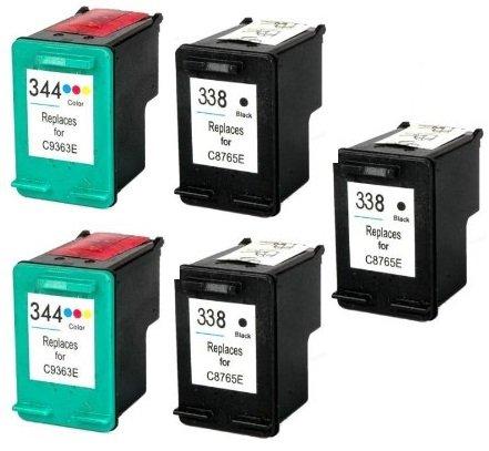 Prestige cartridge hp 338/hp 344 cartucce d'inchiostro compatibile per stampanti hp photosmart/deskjet/officejet serie, 5 pezzi, nero/colore