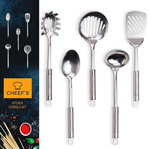 CHEEF'S Premium Edelstahl Küche utensils-kitchen Tools und Gadgets Set von cheef 's-Kochutensilien Set-Schaumlöffel, Spaghetti Server, Suppenkelle, Schlitz Turner, Löffel Oxo Steel Tool-rack