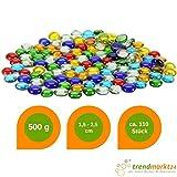 trendmarkt24 Glas-Nuggets 500g Bunt ★ 1,5-2,5 cm Breit ✓ 0,5-1 cm Hoch ✓ Flach auf Einer Seite ✓ Dekosteine-Mix Tischdeko ✓ Glasnugget Transparent Durchsichtig Klar ✓ Glas-Steine deko 2800-A