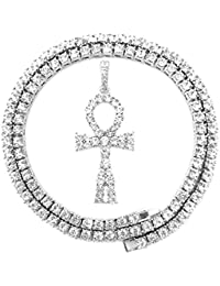 HH Bling Empire Mens Iced Out Hip Hop Gold Artificial Diamond Ankh Cross  Pendant cz Tennis 45092ad84c9a