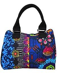 Multicolore bandoulière en toile Tote Messenger Bag avec motif de fleurs et Rinestone Patched- (Blue-121347)