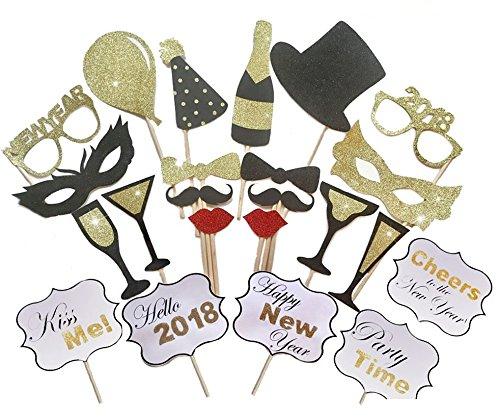 eues Jahr Fotorequisiten Photo Booth Requisiten Party Fotoautomat Pose Zeichen - 23 Anzahl (Frohe Zeichen)