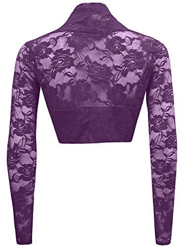 Trendy-Clothings - Cardigan Court Cache-Epaules Boléro En Dentelle Manches Longues Violet