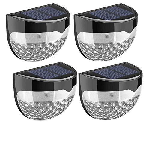 Außen-Leuchten, 4Stück, solarbetrieben, 6helle LEDs, für Tür, Zaun, Wand, Garden, Schuppen - wetterfest, Schutzklasse IP65; staub-, spritzwassergeschützt, geeignet für den Außenbereich