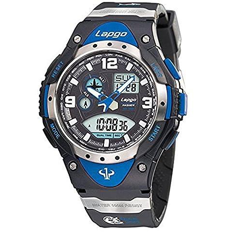 GamutTek Pasnew 100m Waterproof Sports Analog Digital Dual Time Boys Wrist Watches - Black Blue