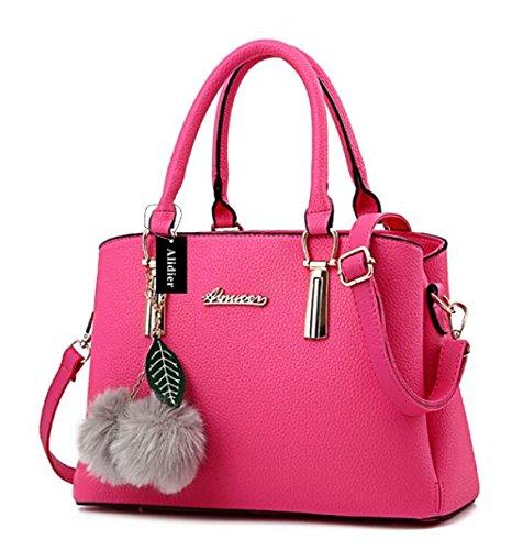 Alidier Neue Marke und Qualität Mode Damen Shopper Ledertaschen Handtaschen Umhängetasche Schultertasche Tote Bag Rosa