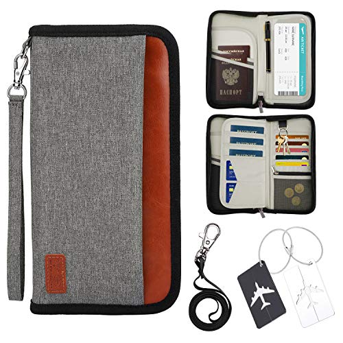 Portefeuille Passeport,Portefeuille de Voyage Familial avec Blocage RFID Porte-Passeport Étiquette de Bagages Pochette Organisateur de...