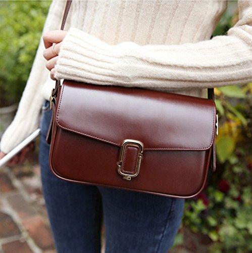 Fashion Leder Büroklammer Leder Rindsleder Flip Schulter Messenger Bag , Rotbraun -