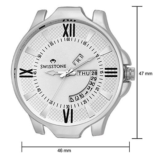 Swisstone Analogue White Dial Mens And Boys Watch-Sw-Wht105-Wht-Brw
