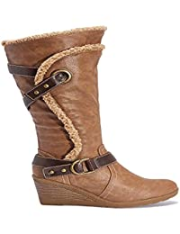 Truffle Collection Ladies Calf Height, Casual Wedge Heel Boots in Tan