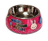 JinZhiCheng Zart Cartoon-Kaninchen-Muster Edelstahl-Hundenapf Anti-Rutsch-Pet Bowl (Pink S)
