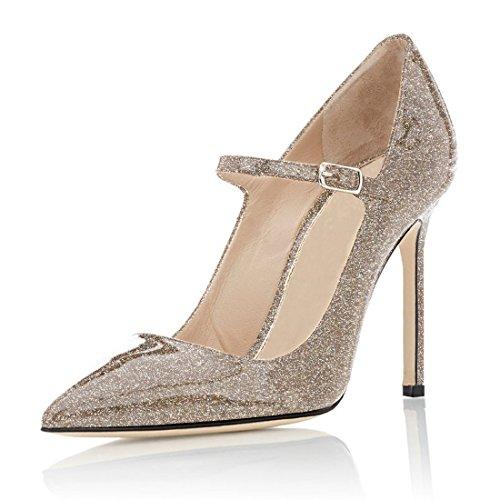 ELASHE Damen High Heels Pumps Bequem | Riemchen 10cm Stilettos | Mary Jane High Heel Pumps Glitter-Gold EU36