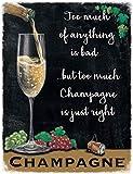 Champagner Weinglas Getränk Kneipe Bar Küche Alt Werbung Metall/Stahl Wand Zeichen - 15 x 20 cm