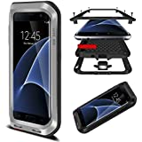 HICASER Galaxy S7 Edge Coque Etanche Preuve de protection en Aluminium d'Armure Lourde pour Samsung Galaxy S7 Edge Étui Rigide en Métal Résistant Aux Chocs et Résistant à l'Eau Argent
