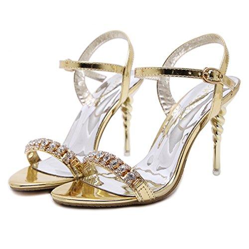 Strass scarpe da 10cm sandali degli alti talloni Fashion Night Club Golden