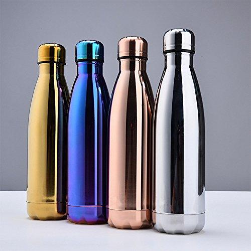 Sept Miracle Vakuum Thermosflasche Edelstahl Colorful Wasser Flasche auslaufsicher doppelwandig Sport Tassen (500ml) Silber