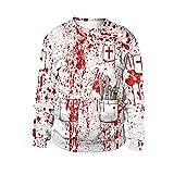 SamMoSon Unisex Hip Hop Pullover Sweatshirts Langarm mit 3D hässlich Digital Print lustige 3D Muster Gedruckt Grafische Santa Weihnachts M-2XL
