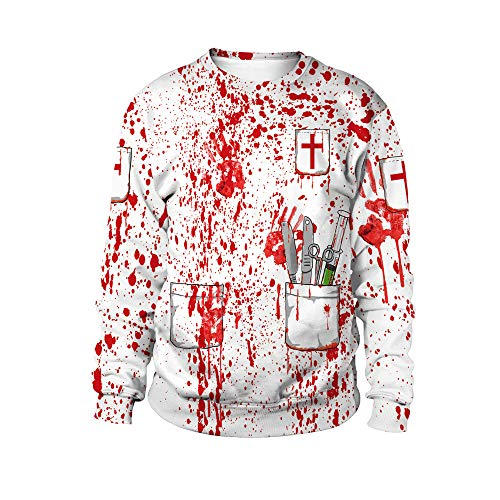 Feitong Damen T-Shirt Women es Halloween Blood Hand Print Party Lange Ärmel Pullover Bluse(EU-46/CN-2XL, Weiß)