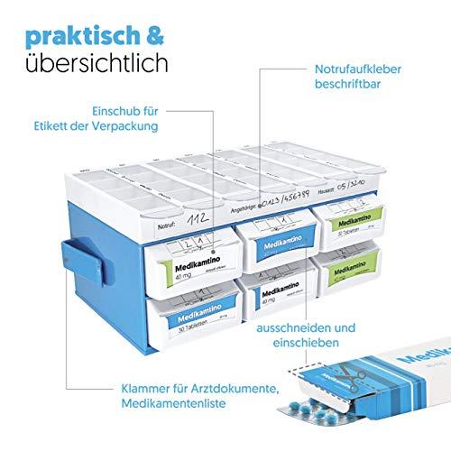 51RBrqmq69L - PillBase Basic - Caja para medicamentos (dosificador para 7 días, distribución semanal, apilable, 2 millones de min)