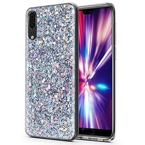 CLM-Tech Huawei P20 Hülle, Glitzer Schutzhülle für Huawei P20 Silikon-Hülle TPU Handyhülle Silber