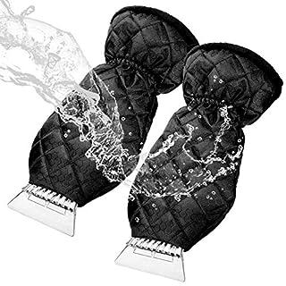 Tolyneil 2 Stück Eiskratzer Mitt Auto Windschutzscheibe Schneekratzer Wasserdichter Handschuh mit dickem Fleece gefüttert Hochleistungs-Frost Schneeentfernung Erwärmungshandschuh
